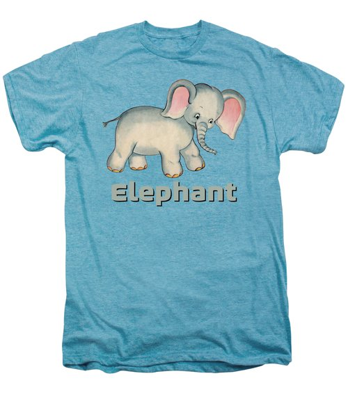 Cute Baby Elephant Pattern Vintage Illustration For Children Men's Premium T-Shirt
