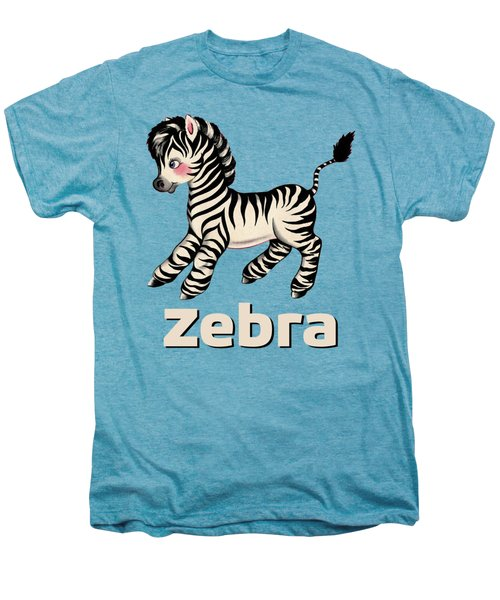 Cute Baby Zebra Pattern Vintage Book Illustration Pattern Men's Premium T-Shirt