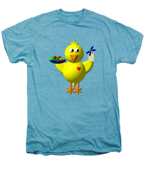 Cute Canary With Salad And Milk Men's Premium T-Shirt
