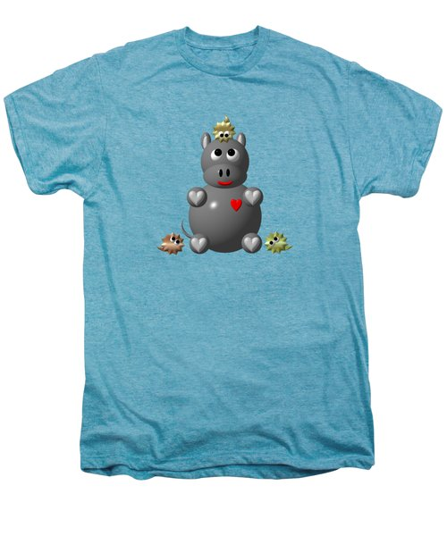 Cute Hippo With Hamsters Men's Premium T-Shirt