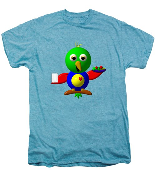 Cute Parrot With Healthy Salad And Milk Men's Premium T-Shirt