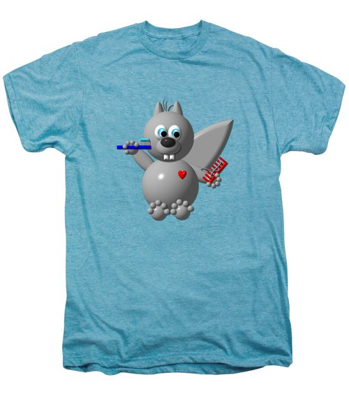 Cute Squirrel Brushing It's Hair And Teeth Men's Premium T-Shirt by Rose Santuci-Sofranko