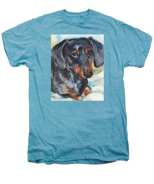Dachshund Portrait In Watercolor Men's Premium T-Shirt by Maria's Watercolor
