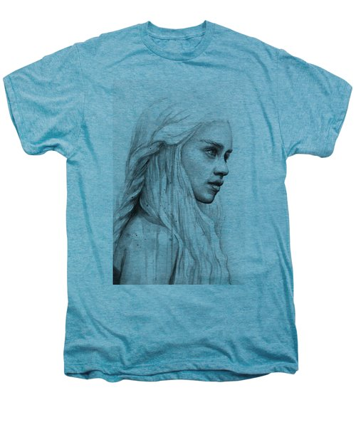 Daenerys Watercolor Portrait Men's Premium T-Shirt by Olga Shvartsur