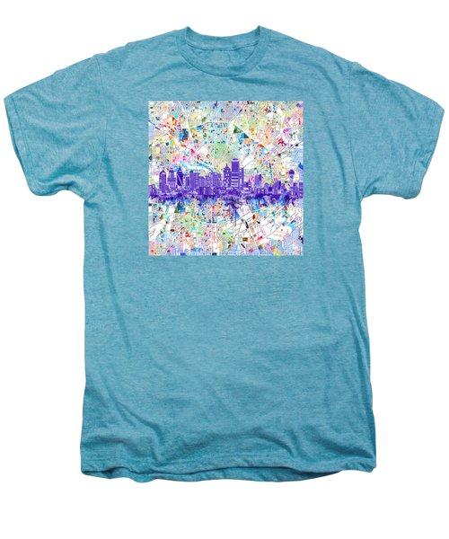 Dallas Skyline Map White 3 Men's Premium T-Shirt