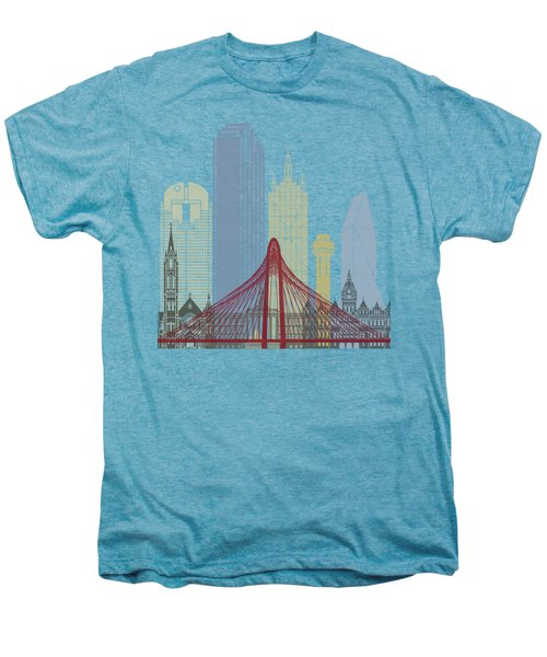 Dallas Skyline Poster Men's Premium T-Shirt by Pablo Romero