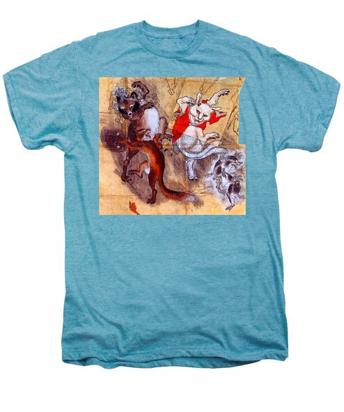 Japanese Meiji Period Dancing Feral Cat With Wild Animal Friends Men's Premium T-Shirt by Peter Gumaer Ogden Collection