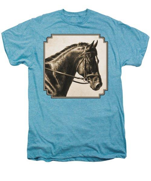 Dark Bay Dressage Horse Aged Photo Fx Men's Premium T-Shirt