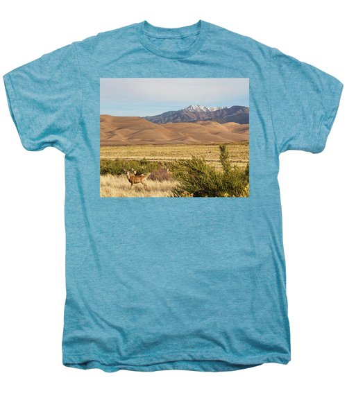 Men's Premium T-Shirt featuring the photograph Deer And The Colorado Sand Dunes by James BO Insogna