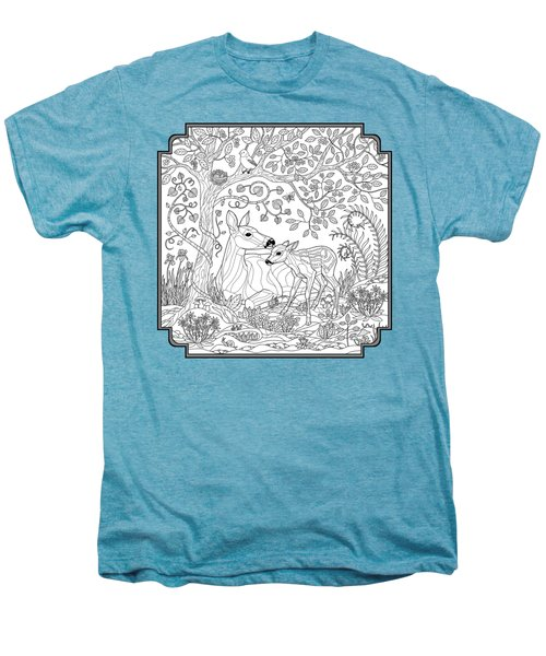 Deer Fantasy Forest Coloring Page Men's Premium T-Shirt by Crista Forest