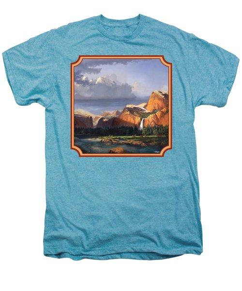 Deer Meadow Mountains Western Stream Deer Waterfall Landscape - Square Format Men's Premium T-Shirt by Walt Curlee