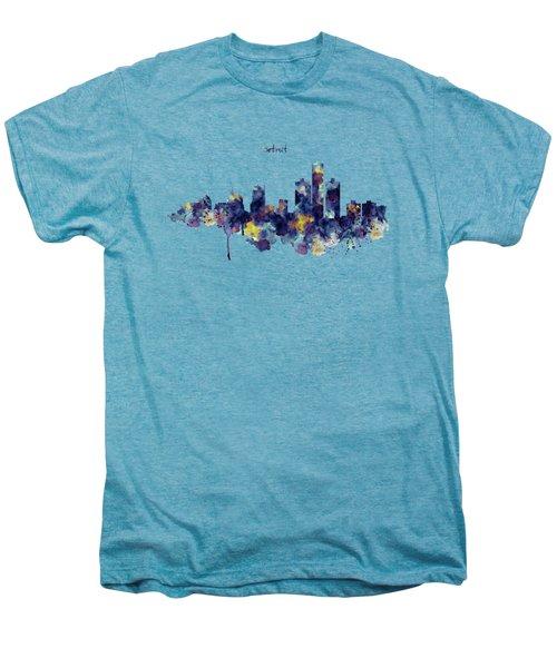 Detroit Skyline Silhouette Men's Premium T-Shirt by Marian Voicu