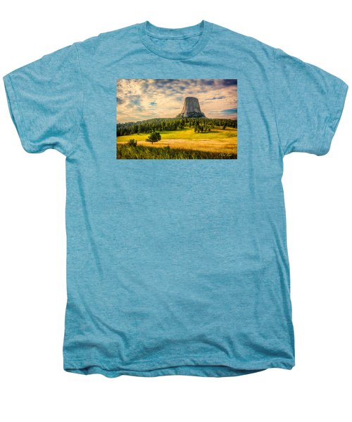 Men's Premium T-Shirt featuring the photograph Devil's Tower - The Other Side by Rikk Flohr