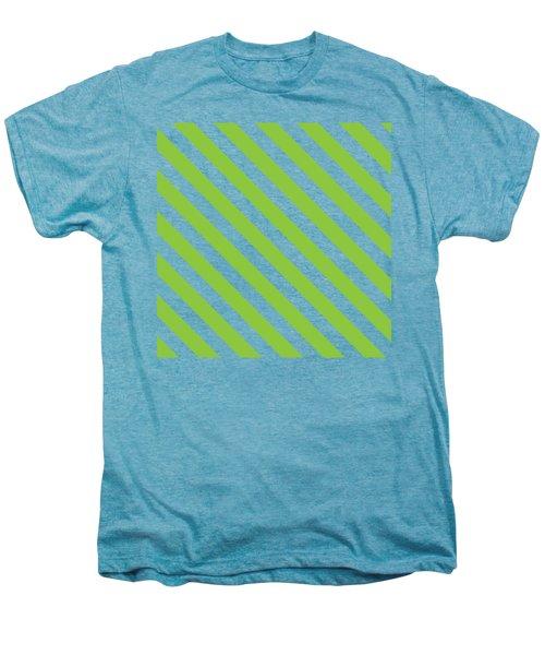 Diagonal Green Stripes Men's Premium T-Shirt