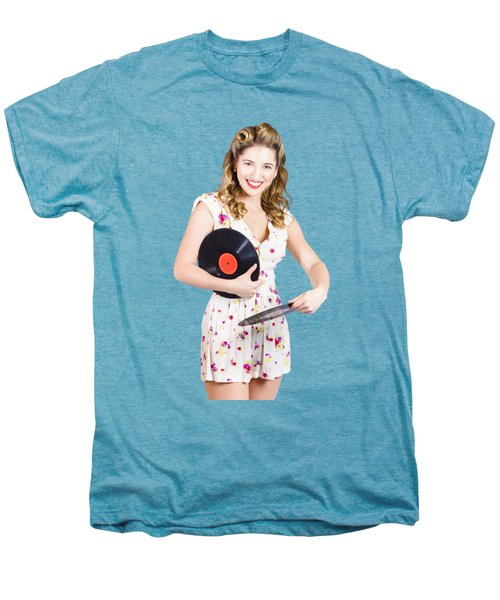 Dj Disco Pin-up Girl Rocking Out To Retro Vinyl  Men's Premium T-Shirt by Jorgo Photography - Wall Art Gallery