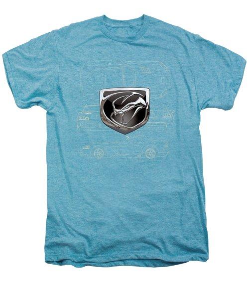 Dodge Viper  3 D  Badge Over Dodge Viper S R T 10 Blueprint  Men's Premium T-Shirt by Serge Averbukh