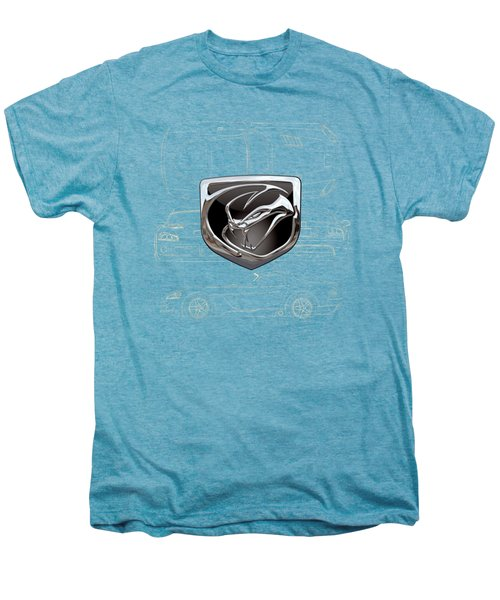 Dodge Viper  3 D  Badge Over Dodge Viper S R T 10 Blueprint  Men's Premium T-Shirt