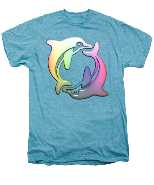Dolphin Dance Soft Rainbow Drops Men's Premium T-Shirt by Di Designs