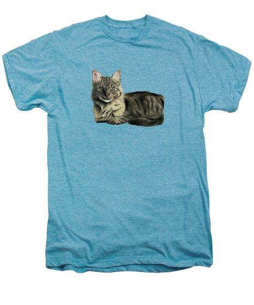 Domestic Medium Hair Cat Watercolor Painting Men's Premium T-Shirt by NamiBear
