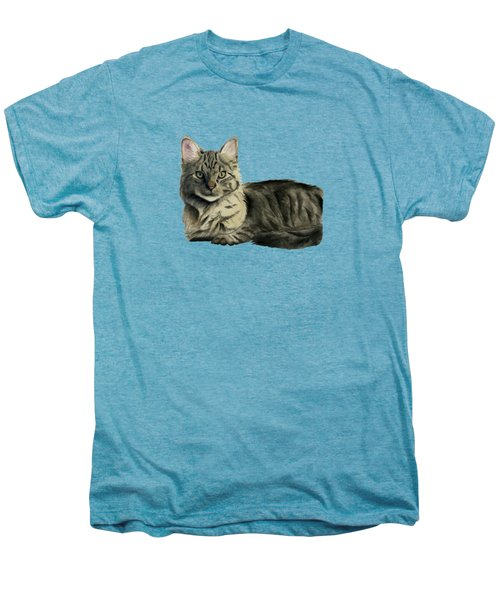 Domestic Medium Hair Cat Watercolor Painting Men's Premium T-Shirt