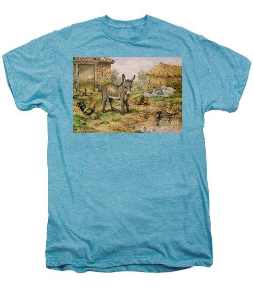 Donkey And Farmyard Fowl  Men's Premium T-Shirt by Carl Donner