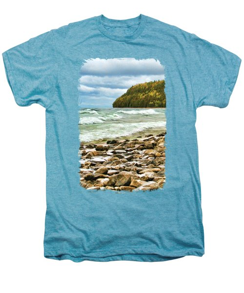 Men's Premium T-Shirt featuring the painting Door County Porcupine Bay Waves by Christopher Arndt