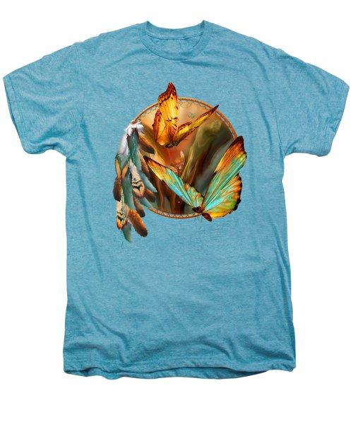 Dream Catcher - Spirit Of The Butterfly Men's Premium T-Shirt by Carol Cavalaris