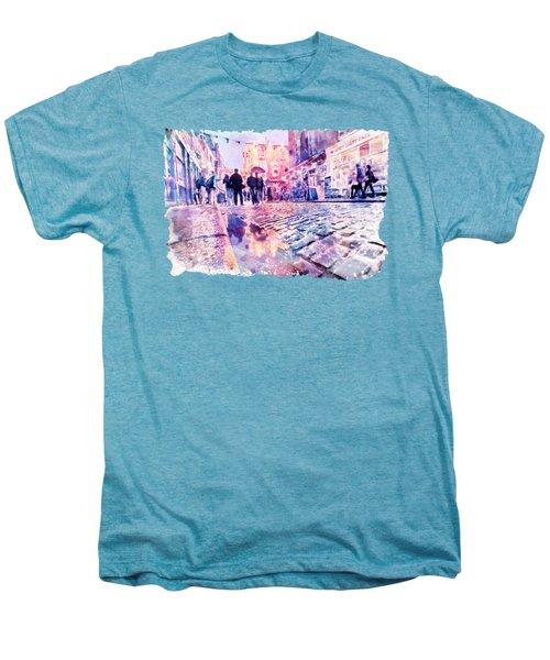 Dublin Watercolor Streetscape Men's Premium T-Shirt by Marian Voicu