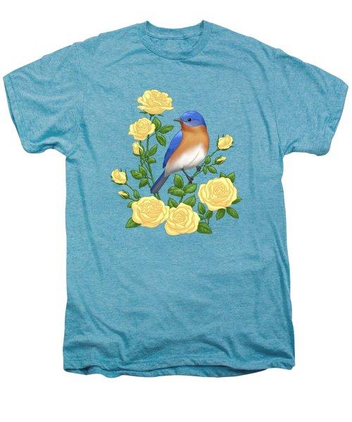 Eastern Bluebird And Yellow Roses Men's Premium T-Shirt