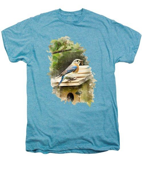 Eastern Bluebird Watercolor Art Men's Premium T-Shirt by Christina Rollo