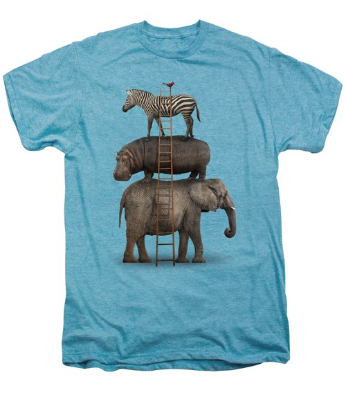 Elephant, Hippo, Zebra Animal Stack With A Cardinal Men's Premium T-Shirt by Greg Noblin