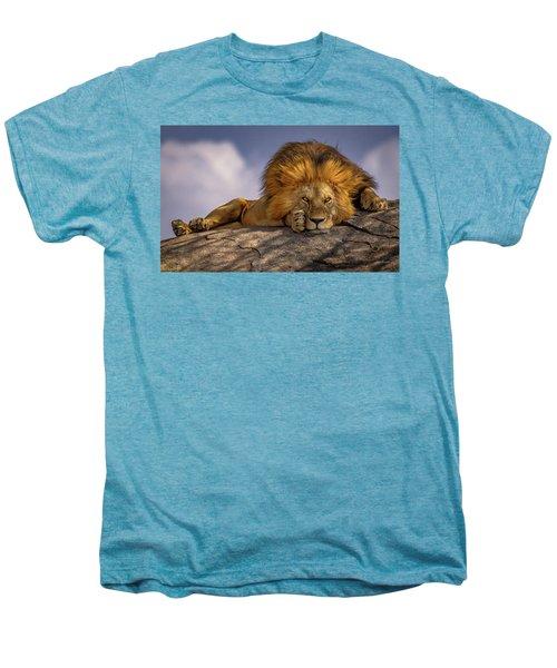 Eye Contact- Namiri Plains, Tanzania Men's Premium T-Shirt