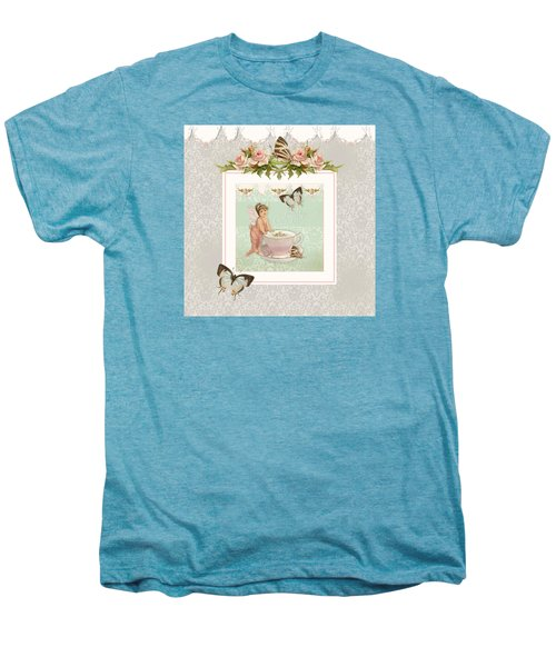 Fairy Teacups - Flutterbye Butterflies And English Rose Damask Men's Premium T-Shirt by Audrey Jeanne Roberts