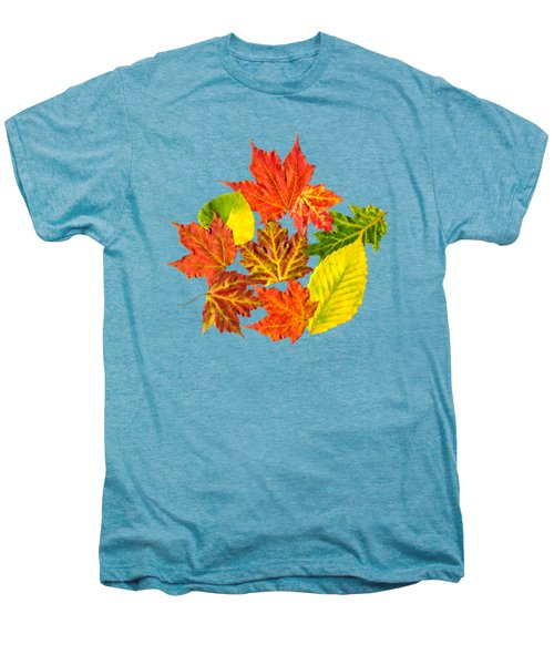 Men's Premium T-Shirt featuring the mixed media Fall Leaves Pattern by Christina Rollo