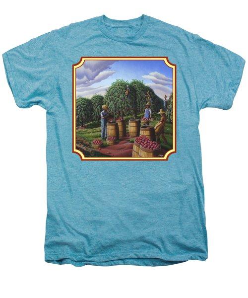 Farm Americana - Autumn Apple Harvest Country Landscape - Square Format Men's Premium T-Shirt by Walt Curlee
