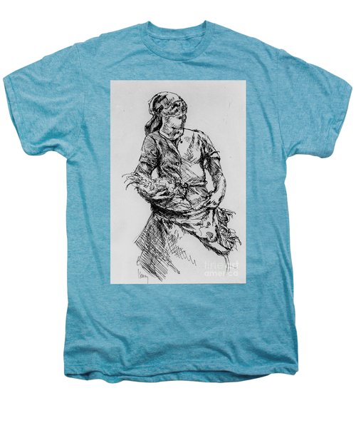 Men's Premium T-Shirt featuring the drawing Farm Girl by Rod Ismay