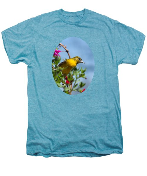 Female Baltimore Oriole In A Flower Basket Men's Premium T-Shirt by Christina Rollo
