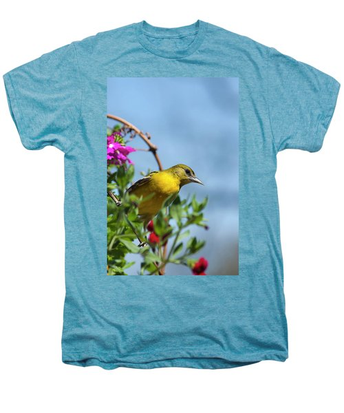 Female Baltimore Oriole In A Flower Basket Men's Premium T-Shirt