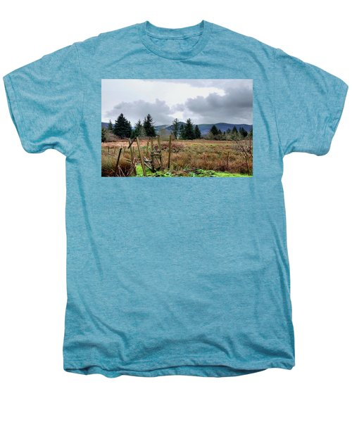 Field, Clouds, Distant Foggy Hills Men's Premium T-Shirt