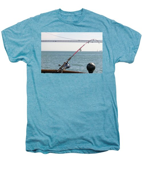 Fishing Rod On The Pier In San Francisco Bay Men's Premium T-Shirt