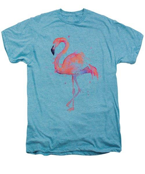 Flamingo Love Watercolor Men's Premium T-Shirt by Olga Shvartsur