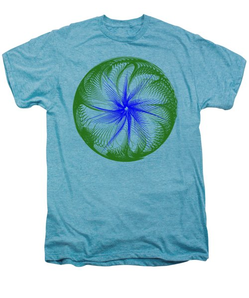 Floral Web - Green Blue By Kaye Menner Men's Premium T-Shirt by Kaye Menner