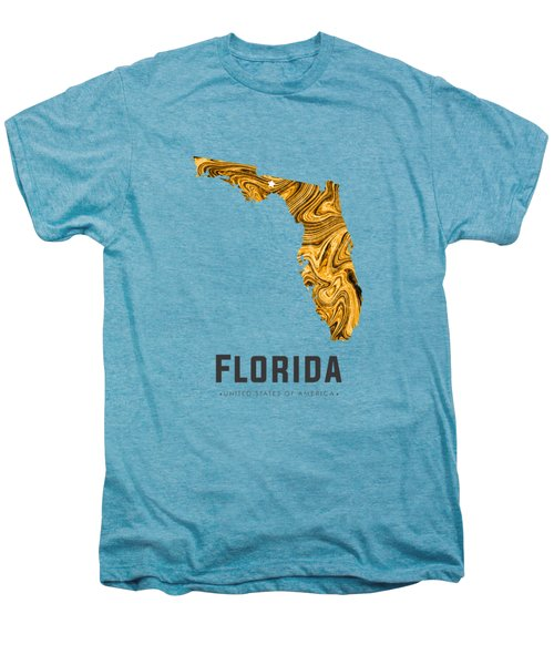 Florida Map Art Abstract In Yellow Gold Men's Premium T-Shirt
