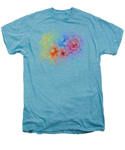 Flower Power Watercolor Men's Premium T-Shirt by Olga Shvartsur
