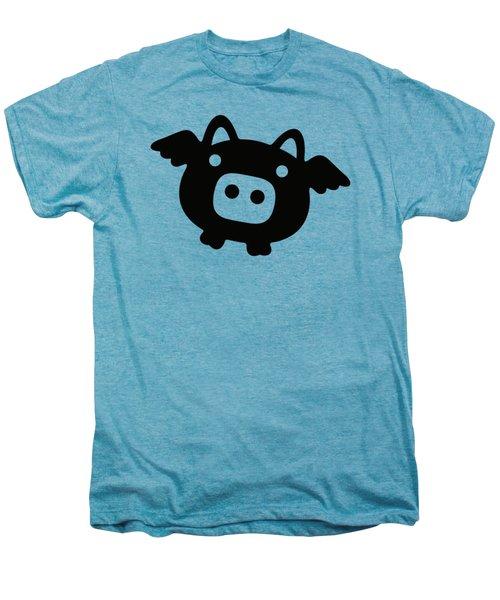 Flying Pig - Black Men's Premium T-Shirt by Julia Jasiczak