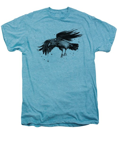 Flying Raven Watercolor Men's Premium T-Shirt by Olga Shvartsur