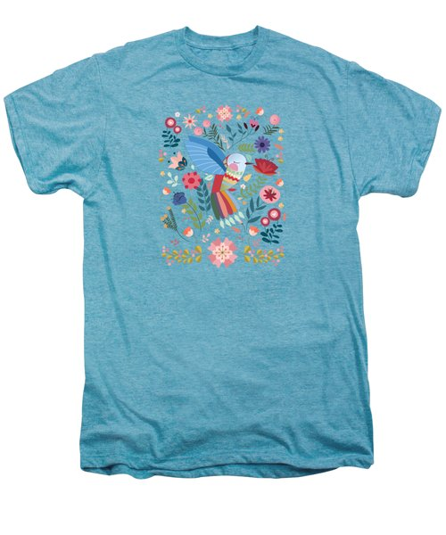 Folk Art Inspired Hummingbird In A Burst Of Springtime Blossoms Men's Premium T-Shirt