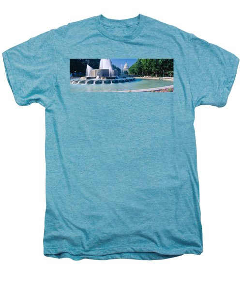 Fountain And Us Capitol Building Men's Premium T-Shirt by Panoramic Images