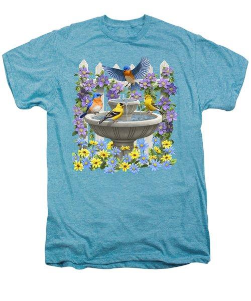 Fountain Festivities - Birds And Birdbath Painting Men's Premium T-Shirt by Crista Forest