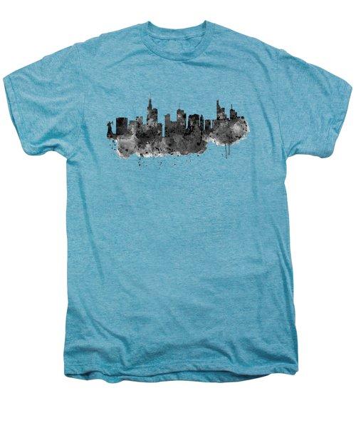 Frankfurt Black And White Skyline Men's Premium T-Shirt by Marian Voicu